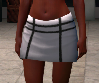 Panelled miniskirt, black and white, female, front.png